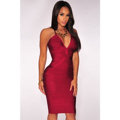 Red Wined Crisscross Sleeveless Bandage Dress LAVELIQ  - LAVELIQ - 1