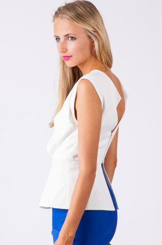 Womanly White Zipped Back Top LAVELIQ SALE
