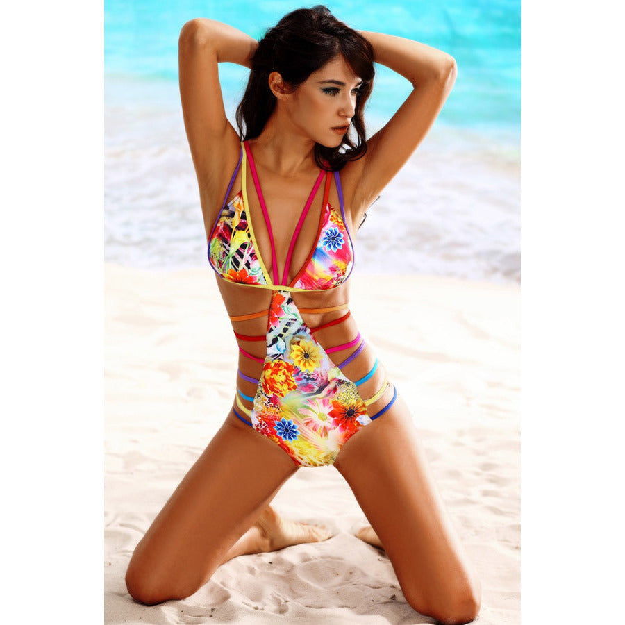 Women Sexy Straps Hollow Out Printing Teddy Swimwear LAVELIQ - LAVELIQ - 1