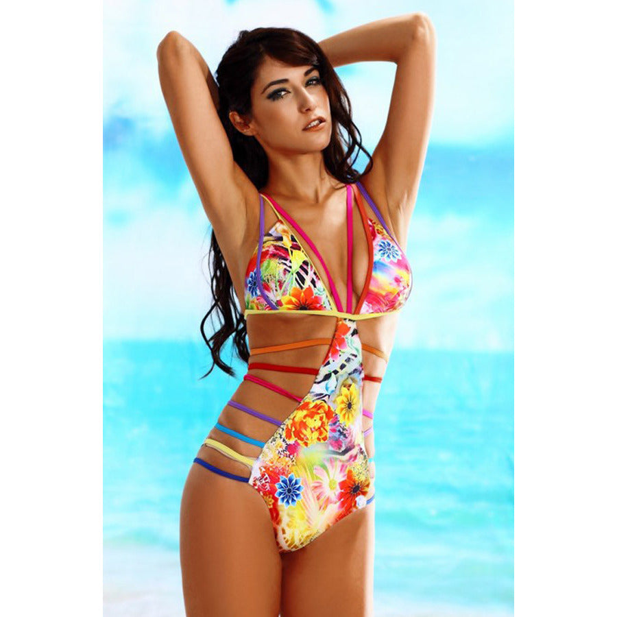 Women Sexy Straps Hollow Out Printing Teddy Swimwear LAVELIQ - LAVELIQ - 3