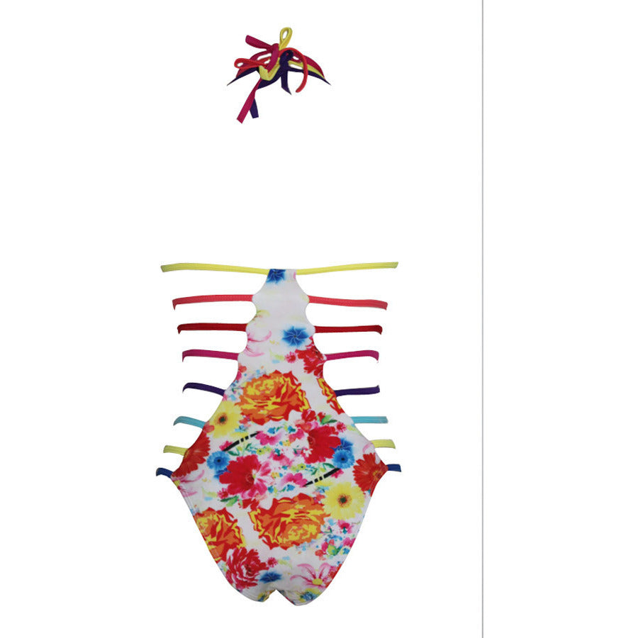 Women Sexy Straps Hollow Out Printing Teddy Swimwear LAVELIQ - LAVELIQ - 5