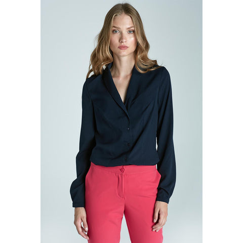 Classic Blue Chic And Stylish Soft Office Shirt LAVELIQ