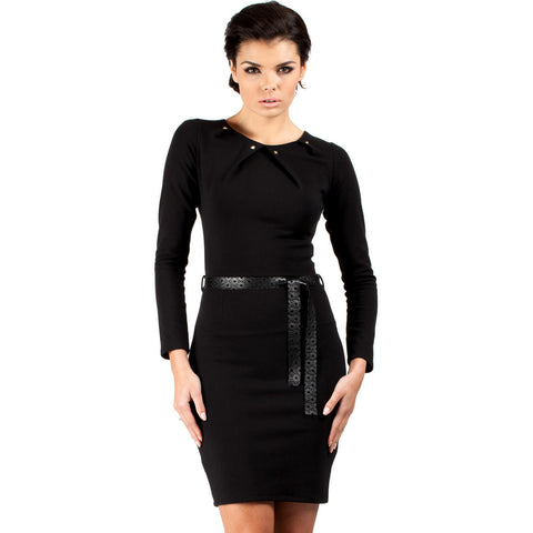 Black Fancy Collar Shift Dress With Belt LAVELIQ