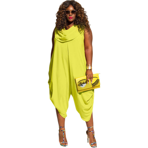 Yellow Plus Size Loose Fitted Harem Jumpsuit LAVELIQ