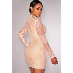 Yellow Neck Lace Mini Dress Sale LAVELIQ - LAVELIQ - 2