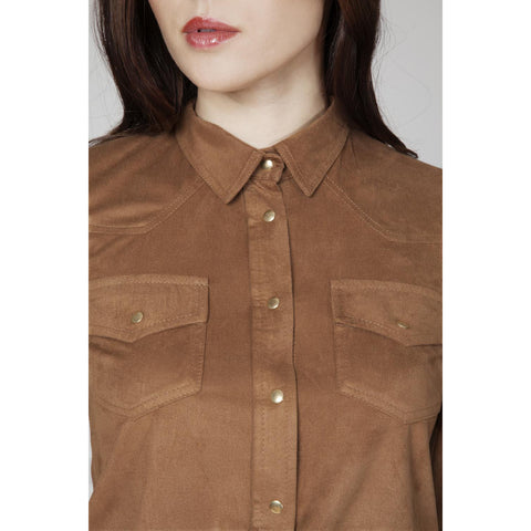 Brown Shirt With Pockets And Snaps LAVELIQ