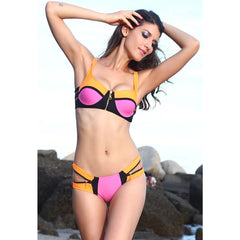 Zip Decor Color Pink Bikini Set LAVELIQ - LAVELIQ - 1