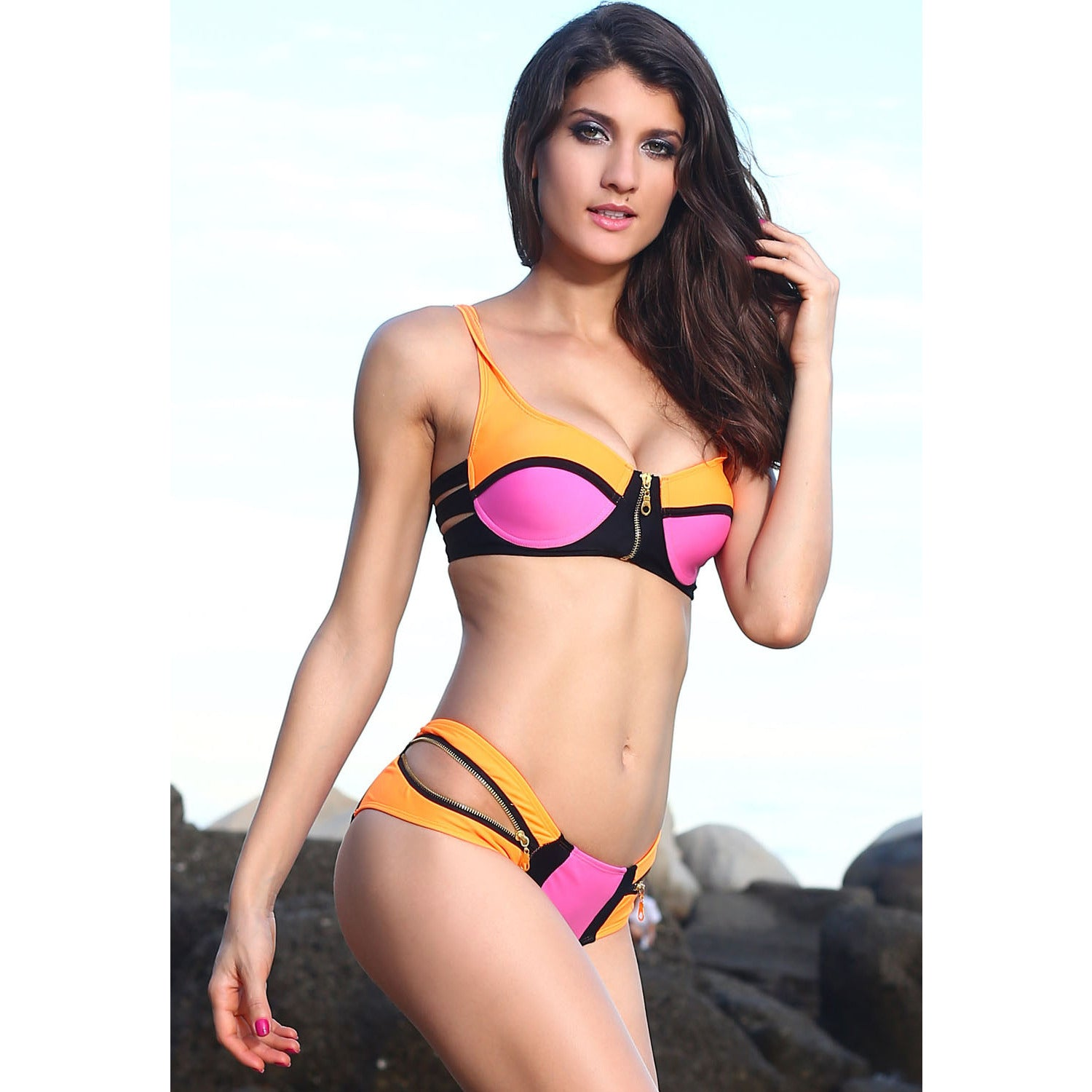 Zip Decor Color Pink Bikini Set LAVELIQ - LAVELIQ - 7