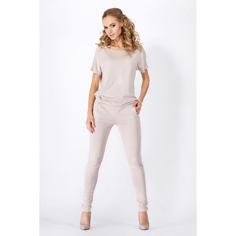 Classic Beige Loose Top And Slim Pants Jumpsuit LAVELIQ