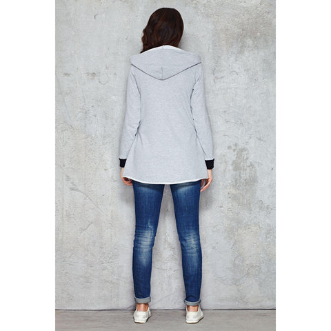 Cool Grey Parabola Hemline Hoodie With Variant Details LAVELIQ
