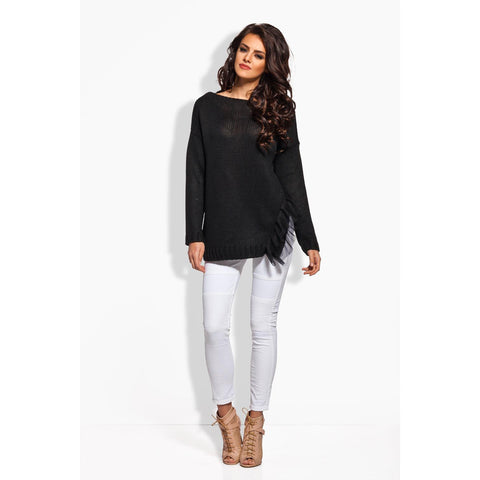 Black Long Sweater With Frill LAVELIQ
