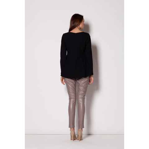 Black Informal Edge Top With Seam Back LAVELIQ