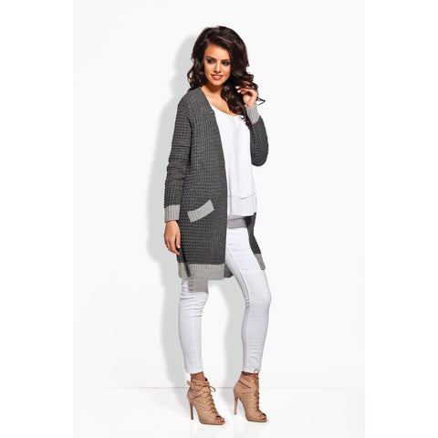 Dark Grey Long Cardigan With Varianting Details LAVELIQ
