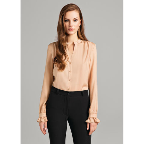 Brown Long Sleeves Blouse With Linings For Women LAVELIQ