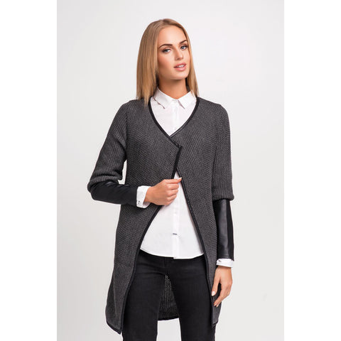 Dark Grey Stylish Cardigan With Eco-Leather Piping And Sleeves LAVELIQ