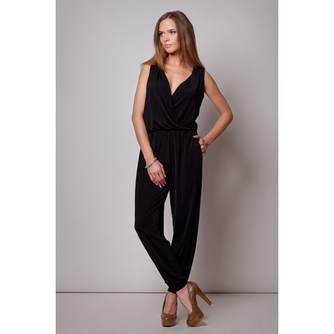 Black Jumpsuit With Shirred Waist LAVELIQ