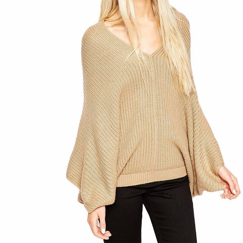 Sexy Deep V-neck Casual Knitted Sweater Plus Size  Laveliq