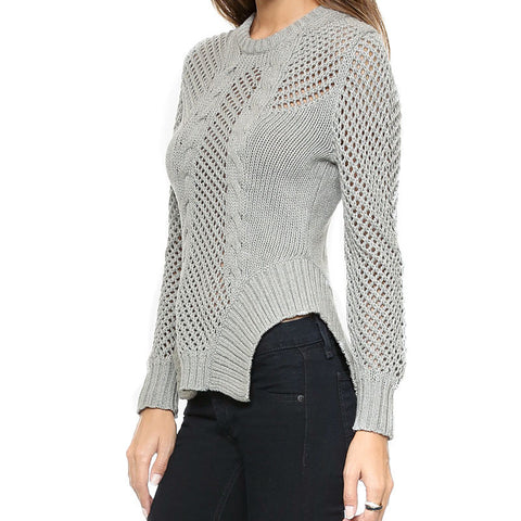 Fashion Long Sleeve Solid Gray Hollow Out Sexy Slim Casual Loose Sexy Pullover Sweater