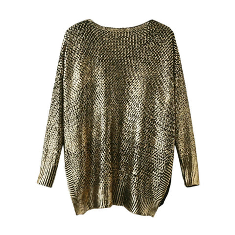 Elegant Casual Slim Pullover V-neck Long Sleeve High Low Solid Gold Split Knitted Pullover