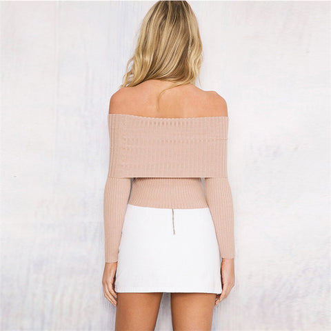 Fashion Women Casual Sexy Slim Loose Long Sleeve Beige Fold Off Shoulder Kintted Sweater