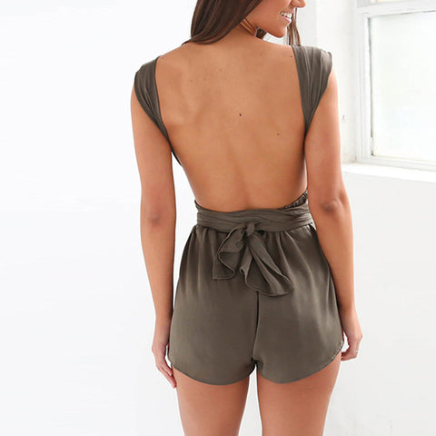 Elegant Party Club Backless Lace-up Romper LAVELIQ
