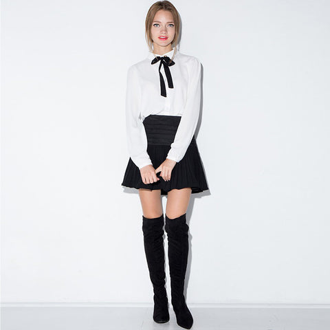 Easy Care Bow Tie Long Sleeve White Blouse LAVELIQ