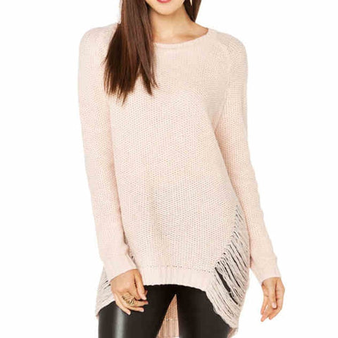 Fashion Women Casual Solid Loose Hollow Out Top O-neck Long Sleeve  Sweater