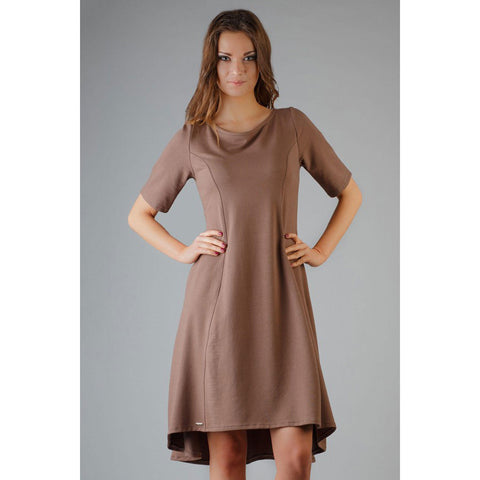 Brown High Fad Plus Size Dress With Plunged Edge LAVELIQ
