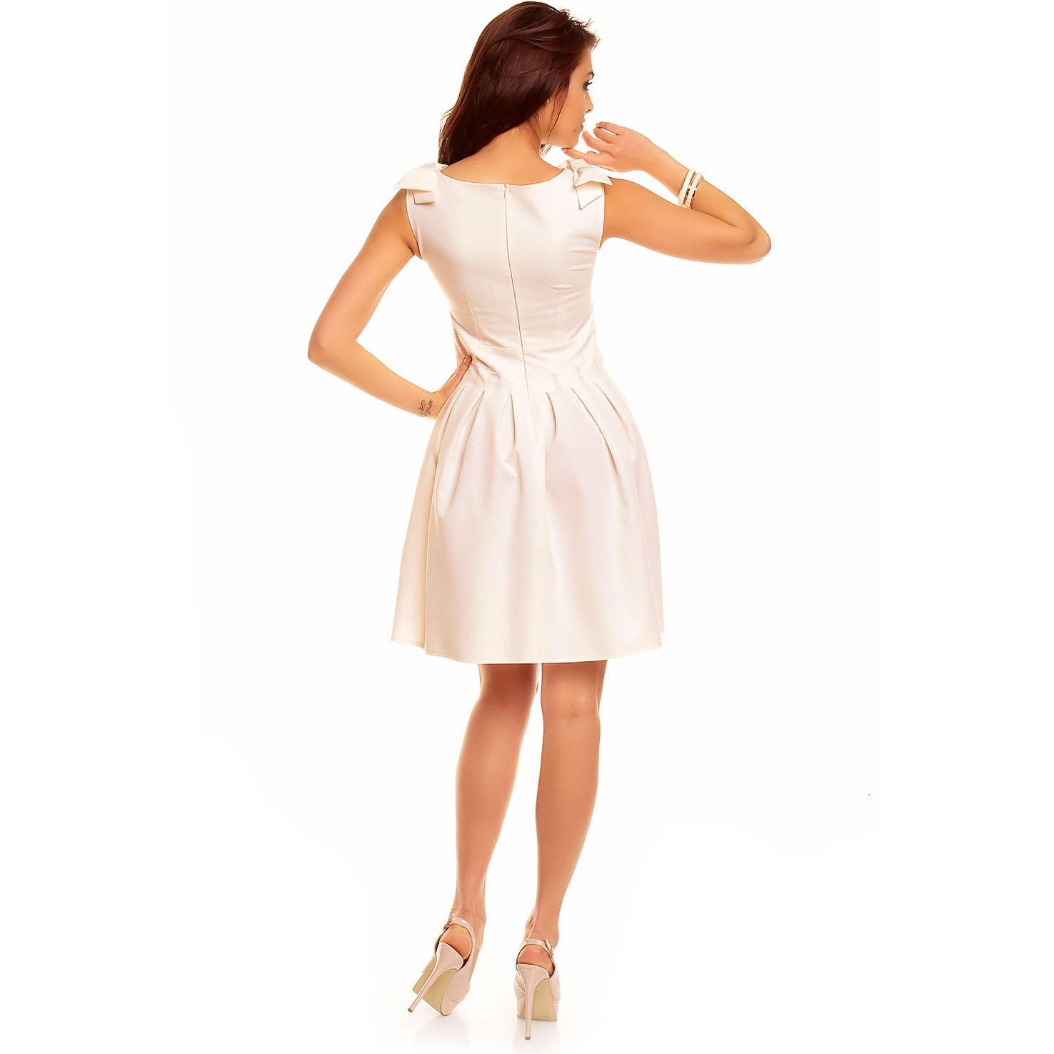 Creamy Flippy Dress With Bend Sleeveless Shoulder LAVELIQ - LAVELIQ - 4