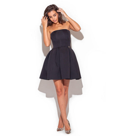 Black Strap Dress With Pleated Skirt LAVELIQ