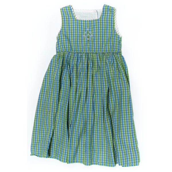 Green & Blue Colour Block Dress, 4 Years