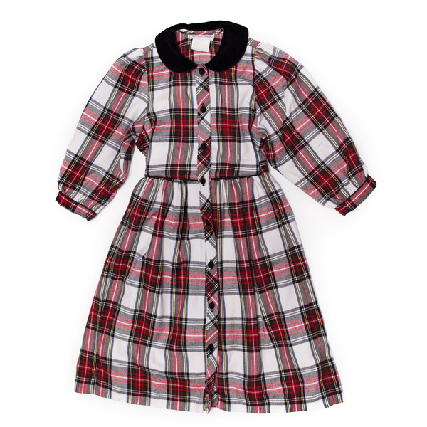 Tartan Dress with Velvet Collar, 6 Years