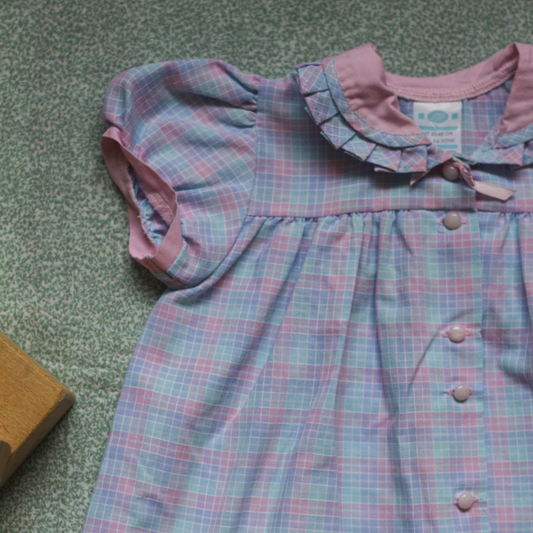 Checkered Pink + Blue Dress, 3 Months