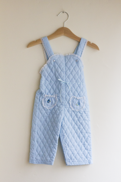Powder Blue Quilter Romper, 12 Months