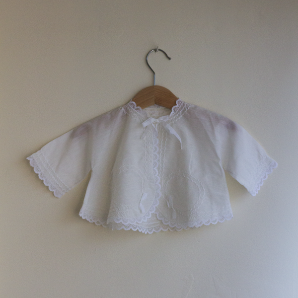 Vintage Silk Christening Top, 3–6 Months