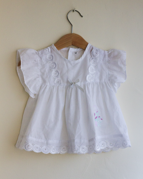 White Cotton Summer Dress, 3–6 Months