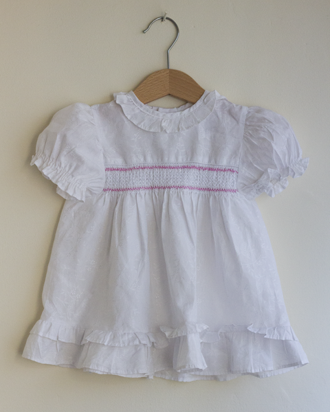 White Cotton Summer Dress, 6–12 Months