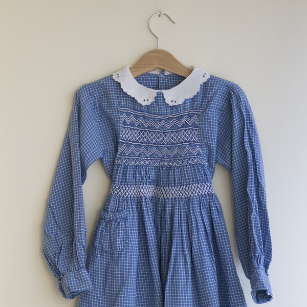 Blue Check Smocked Dress, 5 Years