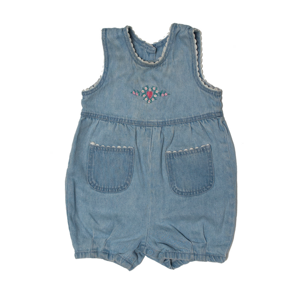 Denim Romper with Scallop Trim, 18 Months