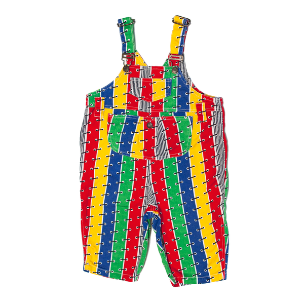 Primary Colour Stripe Dungarees, 3 Years