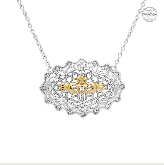 Irish Lace Gold Plated Claddagh Sterling Silver Necklace