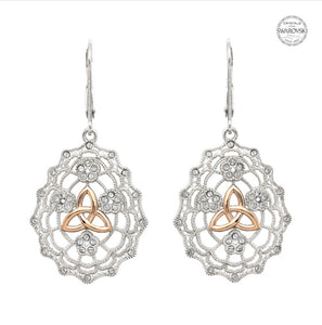 Sterling Silver Rose Gold Trinity Knot Drop Earrings