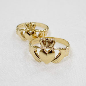 Mens and ladies classic 10ct gold Claddagh rings