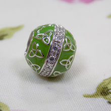 Load image into Gallery viewer, Trinity Knot Bead Charm- Green Enamel & CZ