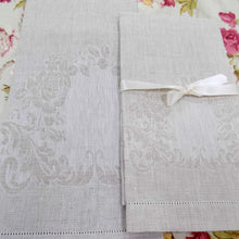 Load image into Gallery viewer, Irish Linen Guest Towel - Rose pattern, Natural