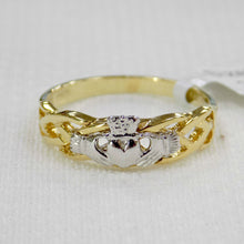 Load image into Gallery viewer, Celtic weave ladies gold ring with Irish Claddagh design