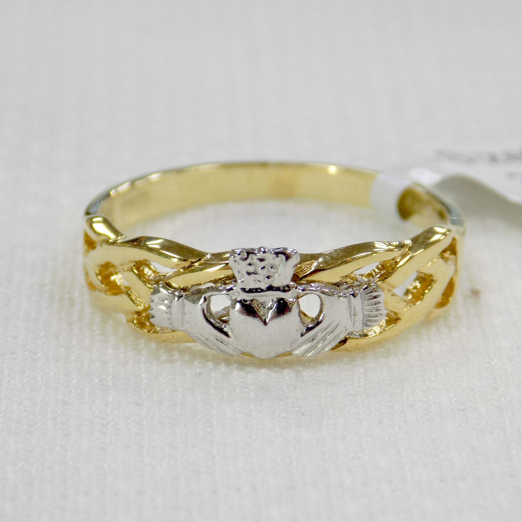 Celtic weave ladies gold ring with Irish Claddagh design