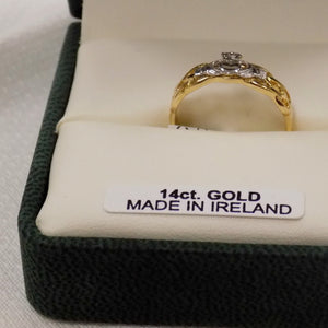 Ladies celtic weave ring with silver Claddagh