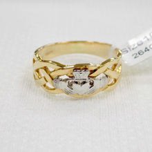 Load image into Gallery viewer, Mens gold celtic band ring with silver Claddagh