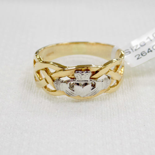 Mens gold celtic band ring with silver Claddagh